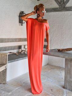 Coral Maxi Dress / Coral Kaftan / Asymmetric by SynthiaCouture