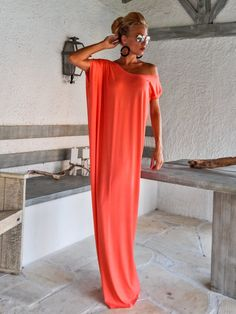 Coral Maxi Dress / Coral Kaftan / Asymmetric Plus Size Dress / Oversize Loose Dress / #35085  This elegant, sophisticated, loose and comfortable maxi dress, looks as stunning with a pair of heels as it does with flats. You can wear it for a special occasion or it can be your everyday comfortable dress. - Handmade item  - Materials : viscose, strech cotton   * Please Note : To keep a stock of a large variety of colors, they may have slight differences in weight and drape  - The model wears…