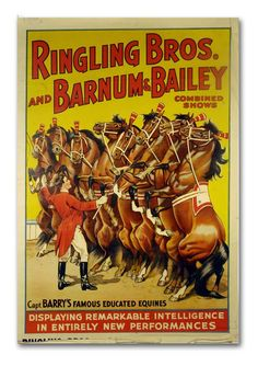 1978 Vintage Circus Poster, Barnum And Bailey Ringling Brothers, Elephant Wrangling, Barry's Famous Educated Equines Horse, USA Vintage Circus Posters, Vintage Advertising Posters, Vintage Advertisements, Vintage Ads, Vintage Prints, Carnival Posters, Vintage Horse, Advertising Signs, Vintage Labels