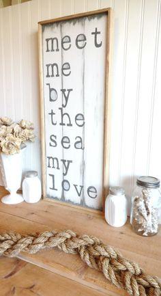 Meet Me Bye The Sea My Love Wooden Beach Sign by MeetMeByeTheSea, $52.00