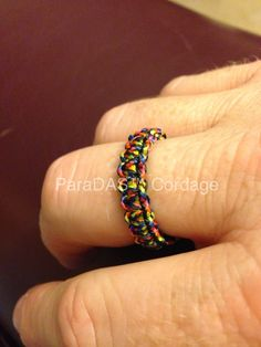 MicroCord Cobra Ring with Diamond Knot & Loop closure.
