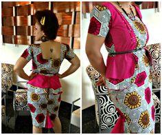 #Ankara African Print dress with peplum and exposed zipper. #DressToTheT