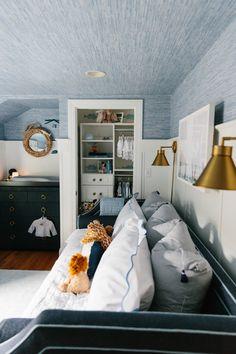 Bedroom Wall Designs, Bedroom Themes, Bedroom Decor, Bedroom Ideas, Nursery Design, Boys Bedroom Wallpaper, Blue Bedroom Walls, Boys Nautical Bedroom, Childs Bedroom