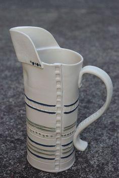 hand built, slab constructed porcelain jug, underglaze, 2012. Ceramic, porcelain, stoneware