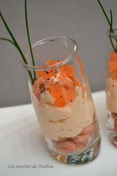 Ma cuisine au fil de mes idées...: Verrines de mousse de saumon fumé et crevettes grises
