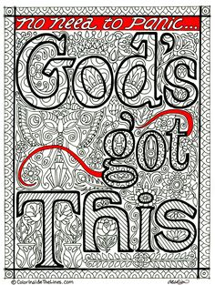 "Adult coloring book page, ""God's Got This"" black and white design from http://www.colorinsidethelines.com"