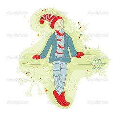 ретро Рождество эльф карта - для записки, дизайн, приглашение - Стоковая иллюстрация: 7384157