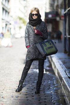 More Than 170 Street-Chic Snaps to Fuel Your Winter Style : Let a great tote, luxe bag, and leather pants take your everyday look to chic-status.  Source: Adam Katz Sinding