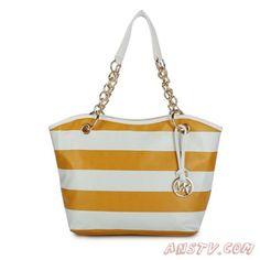 2b568c1ffc MK7969 Michael Kors Striped Large Jaune Tote Sortie Micheal Kors Bags, Michael  Kors Handbags Discount
