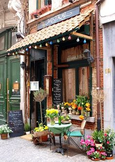 I like the outdoor seating concept with flowers, also the quirky entrance roofing with string lights.