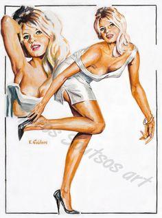 Brigitte Bardot movie poster, original painting portrait