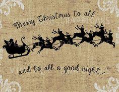 Christmas Santa sleigh Reindeer instant clip art Digital