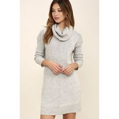 Tea Reader Light Grey Sweater Dress ($56) ❤ liked on Polyvore featuring dresses, grey, light gray dress, tea-length dresses, long grey dress, cowl neck sweater dress and tea party dresses