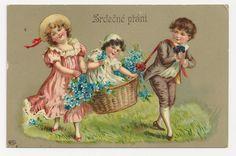 Eas heart logo.  c1910 Victorian CHILDREN Vintage Postcard - CZECH-BOHEMIAN Slavic Language Greeting -  GERMAN-MADE High-Gloss Gelatin Coated Finish Chromolithograph - Unused