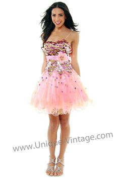 Pink & Yellow Sequins & Tulle Short Party Homecoming Dress - Unique Vintage - $178
