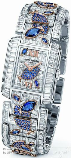 """""""PATEK-PHILIPPE-DIAMOND-WATCH-WITH-BLUE-FISH-AQUATIC-LIFE""""  Sweet mother of things I can't afford!!!!!"""