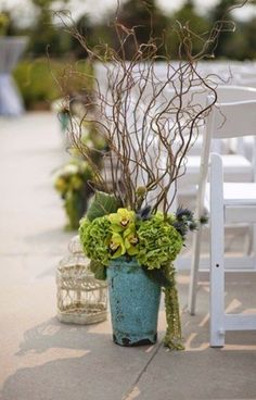 rustic green hydrangea tree branch wedding aisle / http://www.deerpearlflowers.com/twigs-and-branches-wedding-ideas/