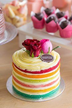 Naked rainbow cake!!
