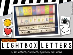 Editable Lightbox Letters, Numbers, Symbols, and icons (Large and Small) Classroom Displays, Classroom Decor, Lightbox Letters, Light Board, Vellum Paper, Thanks A Bunch, Heidi Swapp, Christmas Birthday, Letters And Numbers