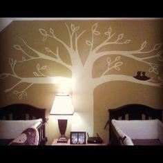 Pottery Barn inspired nursery. Custom mural. Tree, twins, bird
