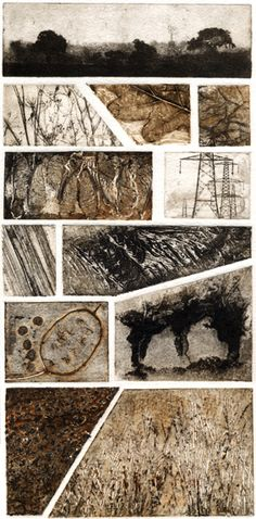Kerry Buck This original print is made up of 9 collagraph plates and 3 photopolymer plates each seaparately inked and assembled on the bed of the press before being printed; a tricky procedure! It looks great hung alongside Fields I and A Walk in Norfolk if you have the spare wall space!