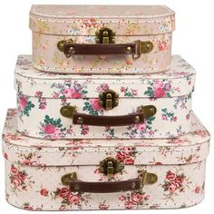 Set of 3 Vintage Rose Suitcases Storage Boxes ($37) ❤ liked on Polyvore featuring home, home decor, small item storage, accessories, random and rose home decor