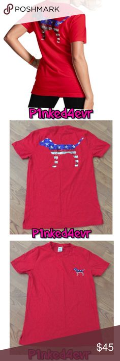 VS PINK Bling Dog Red Campus Pocket Tee XS VS PINK Bling Dog Red Campus Pocket Tee XS. Was worn for a few hours and then washed on delicate and hung to dry. Absolutely no flaws and it is BEAUTIFUL!! Split hem on the sides and a pocket on the front embroidered with a patriotic VS PINK Dog, and a large patriotic sequin VS PINK Dog. Color is a rich red and the sequins accent it perfectly. Would also fit a small. ❌SELECTIVE TRADES FOR OTHER VS PINK WITH ESTABLISHED TRADERS ONLY- SEE TRADING…