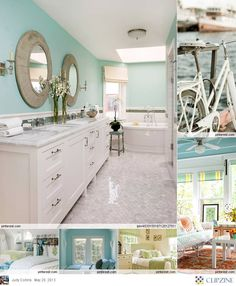 Coastal Cottage Treasures - I love the mirrors and wall color.