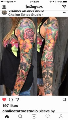 Shelle - Closet, what I can find in a flower sleeve . - Tattoos❤ - Tattoo Designs For Women Half Sleeve Tattoos Color, Quarter Sleeve Tattoos, Tattoos For Women Half Sleeve, Tattoo Women, Half Sleeve Flower Tattoo, Floral Tattoo Sleeves, Colorful Sleeve Tattoos, Tattoo Henna, Arm Tattoo