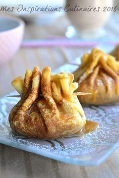 Aumônière de crêpes aux pommes et caramel beurre salé Plus