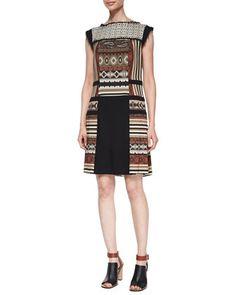 Paneled Geometric-Print Fringe-Trimmed Dress by Etro at Neiman Marcus.
