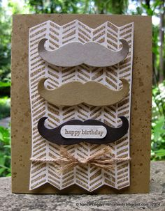 A perfect handmade birthday card for your man with a mustache!  A trio in natural colors sit atop a stamp with a herringbone pattern in brown sugar ink.  Tied off with twine.