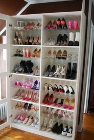 Turn a Bookshelf into a Shoe Rack! Closet Idea for Addison when shes bigger or if I ever have a walk in closet!