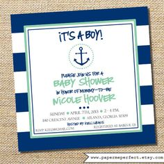 Anchor Baby Shower Invitation - It's A Boy - Navy and Mint by PaperMePerfect, $16.00