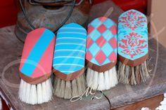 Hand Painted Custom Brushes  Hand Drawn, Hand Painted, and Sealed.    Brush set includes 4 Brushes    Stiff Center w/ Medium border body brush,