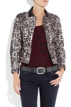 Etoile ISABEL MARANT Leopard Corduroy Leather Webster Jacket -Parisian Cool!