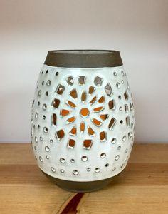 Handmade stoneware pottery lantern wheel thrown hand cut