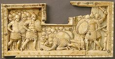 Panel from an Ivory Casket with Scenes of the Story of Joshua  10th century,made in Constantinople,  Byzantine,ivory and traces polychromy