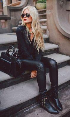All black com calça de couro