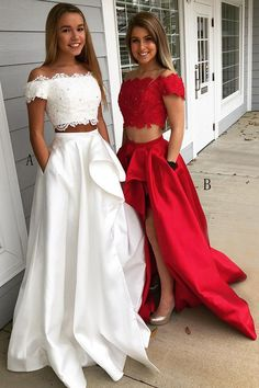 Two Piece Off-the-Shoulder Short Sleeves White Lace Bodice Prom Dress with Pockets White Formal Dresses, Prom Dresses With Pockets, Prom Dresses Two Piece, Prom Dresses Long With Sleeves, Hoco Dresses, Short Sleeves, 8th Grade Graduation Dresses, Homecoming Ideas, Winter Formal