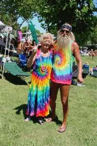 Hippies. They still come through here in the summer. Known as the rainbow people.