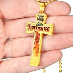 I'M A PROUD FIREFIGHTER DAD CROSS PENDANT NECKLACE - FIREFIGHTER CROSS – ShineOn.com Working Mother, Working Moms, Firefighter Cross, Personalized Family Gifts, Glass Coating, Military Ball, Ball Chain, Cross Pendant, New Baby Products