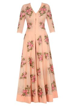 Jhunjhunwala presents Peach floral motifs anarkali and straight pants set available only at Pernia's Pop Up Shop. Linen Dresses, Casual Dresses, Velvet Dress Designs, Long Dress Design, Long Sleeve Striped Dress, Sleeves Designs For Dresses, Indian Designer Suits, Printed Gowns, Indian Gowns