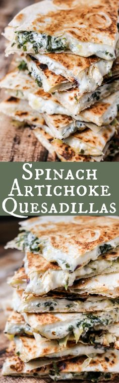 Spinach Artichoke Quesadillas are full of baby spinach, artichokes, and CHEESE! So. Much. Cheese! Ooey, gooey and majorly delicious! Mexican Food Recipes, Dinner Recipes, Mexican Dishes, Lunch Recipes, Baby Food Recipes, Appetizer Recipes, Appetizers, Vegetarian Recipes, Healthy Recipes