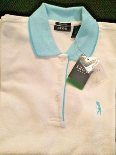 Izod Ladies Polo Shirt Short Sleeve Top Golf White Aqua Womens Size Small #Izod #PoloShirt