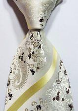 Ivory Yellow Brown 100% New Paisley Jacquard Woven Silk Men's Tie Necktie