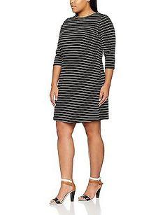 28, Black (Black Pattern), New Look Curves Women's Stripe Swing Dress NEW
