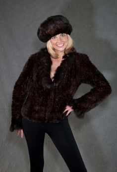 This Beautiful dark brown sheared mink #fur #coat and #furhat was #restyled from a large #furcoat that was dated in style.