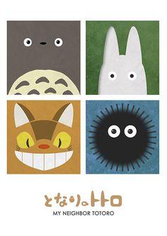 My Neighbor Totoro (1988) ~ Minimal Movie Poster by Jon Glanville #amusementphile