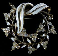 Coro Signed Brooch Beautiful Vintage Gold Tone Floral Rhinestone Enamel | eBay